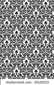 Damask Seamless Pattern Background - BW texture - Vector Include layer whit pattern design source