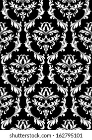 Damask seamless pattern with decorative floral elements