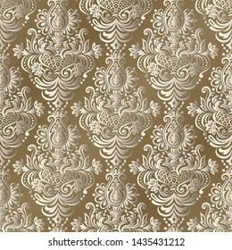 Damask seamless pattern for design. Vector Illustration