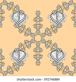Damask seamless pattern for design. Vector seamless pattern on beige background with golden elements and with white doodles. Vector illustration.