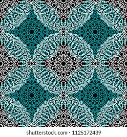 Damask Seamless Pattern. Ethnic Rapport for Textile, Fabric, Wallpaper. Seamless Background with Lacy Grid made of Mandalas. Green Orient Texture