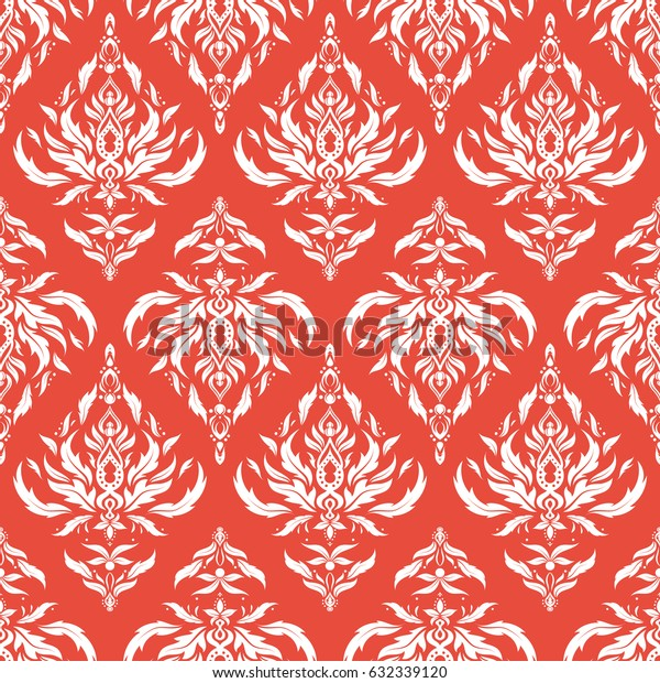 Damask seamless pattern in orange and white colors. Royal wallpaper with abstract flowers. Vector stylish ornament.