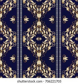 Damask seamless pattern. Striped background wallpaper  with vintage hand drawn gold 3d flowers, leaves, greek key meander borders and antique ornaments in Baroque style. Vector endless luxury texture.