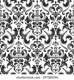Damask seamless royal pattern on a black and white background.