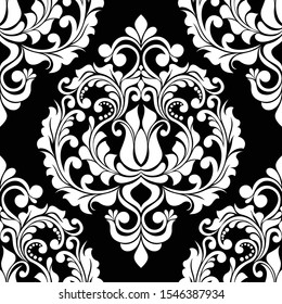 Damask seamless vector background. baroque style pattern. Black and white floral element. Graphic ornate pattern for wallpaper, fabric, packaging, wrapping. Damask flower ornament.