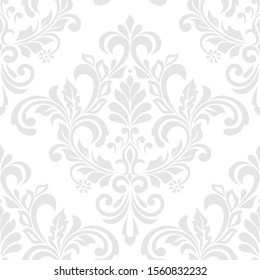 Damask seamless vector background. baroque style pattern. Gray and white floral element. Graphic ornate pattern for wallpaper, fabric, packaging, wrapping. Damask flower ornament.
