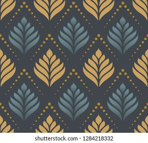 Damask seamless vector background. Wallpaper in leafs style template. Wall Paper, Fabrique, textile, background