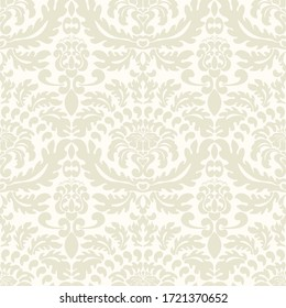 Damask seamless vector pattern. Classic old fashioned damask ornament, royal victorian seamless texture for wallpaper, textile, packaging. Baroque floral pattern