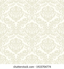 Damask seamless vector pattern. Classic vintage damask ornament, royal victorian geometric seamless pattern for wallpaper, textile, packaging. Floral baroque pattern, beige background