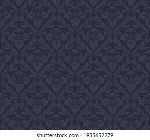 Damask Seamless Vector Pattern.  Elegant Design in Royal  Baroque Style Background Texture. Floral and Swirl Element.  Ideal for Textile Print and Wallpapers.