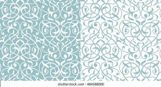Damask seamless white and blue pattern. Design for fabric,wallpaper, background,invitation,wrapping and book covers.Vintage floral ornament.Oriental  style. Hand drown illustration. Vector ornament.