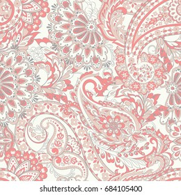 Damask style Seamless pattern. Floral vector wallpaper