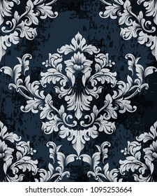 Damask texture pattern Vector. Luxury wallpaper ornament decor. Baroque Textile, fabric, tiles. Gray dark colors