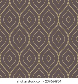 Damask vector floral pattern with arabesque and oriental golden elements. Abstract traditional ornament for wallpapers and backgrounds