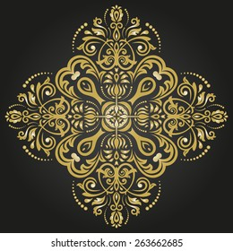 Damask vector floral pattern with arabesque and oriental elements. Abstract traditional golden ornament for backgrounds