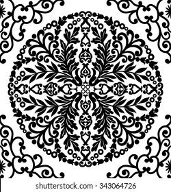 Damask vector floral pattern with arabesque and oriental elements. Abstract traditional ornament for backgrounds. Black and white colors