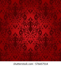 Damask vector floral pattern with arabesque and oriental elements. Seamless abstract traditional  ornament for wallpapers and backgrounds