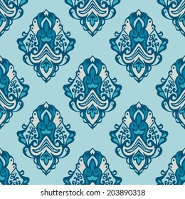 Damask vector floral seamless pattern for wallpaper and fabric