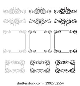 Damask vector set of vintage elements for design. Baroque Decorative design element filigree calligraphy vector. You can use for wedding decoration of greeting card and laser cutting.