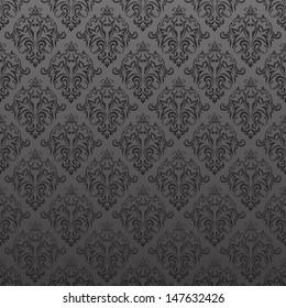 Damask vintage seamless pattern on gray background