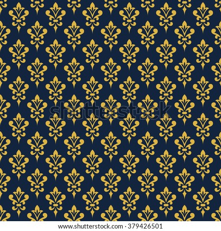 Damask wallpaper. Background in Victorian style. Elegant vintage ornament in blue and gold colors