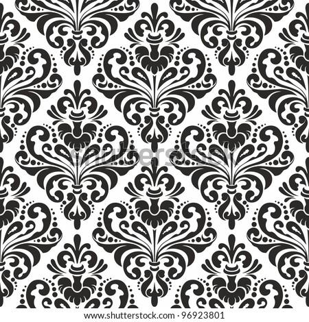 Damask wallpaper, black and white seamless pattern