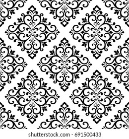 Damask wallpaper. A seamless vector background. Black and white texture. Floral ornament.