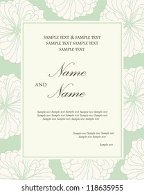 Damask wedding invitation floral card