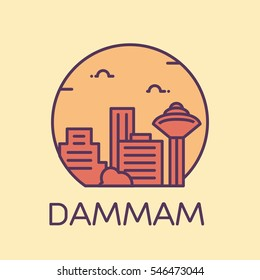 Dammam skyline detailed silhouette. Trendy vector illustration, linear style.