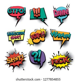 Damn gtfo aggressive comic text collection sound effects pop art style. Set vector speech bubble with word and short phrase cartoon expression illustration. Comics book colored background template.