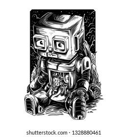 Damn Robot Remastered Black and white Illustration