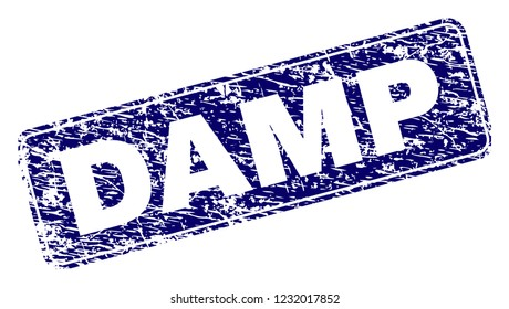 DAMP stamp seal print with distress texture. Seal shape is a rounded rectangle with frame. Blue vector rubber print of DAMP tag with grunge texture.