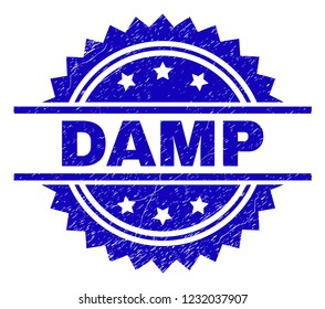 DAMP stamp seal watermark with distress style. Blue vector rubber print of DAMP title with dirty texture.