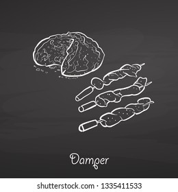 Damper food sketch on chalkboard. Vector drawing of Soda bread, usually known in Australia. Food illustration series.