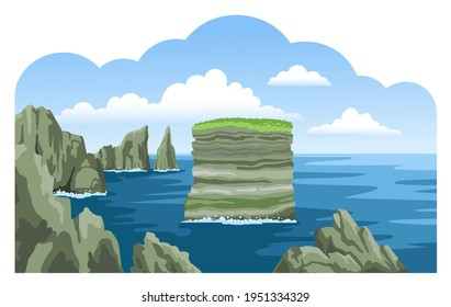 Dan Bristy rock. Sea nature landscape with fluffy clouds and rocks, cliffs, stones. Colorful panoramic irish scenery. Ocean scenic view. Hand-drawn vector illustration.