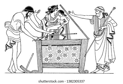 Danae is seen along with Perseus. They are locked in the wooden chest by Danaes father, king Acrisius of Argos and Queen Eurydice, in Greek mythology, vintage line drawing or engraving illustration.