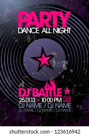 Dance All Night. Party design template with place for text.