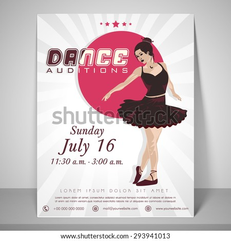 dance audition flyer dancing girl place stock vector royalty free