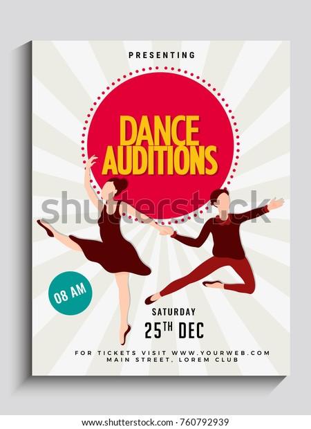 Dance auditions flyer or poster design.