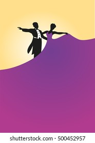 Dance ball. Silhouette dancer. Poster