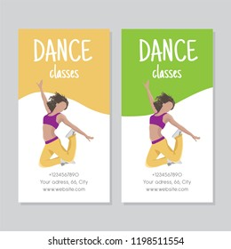 Dance classes poster with character of dancer jumps in a choreography. Vector Isolated illustration for print on T-shirt and bags, dance studio and fitness club posters on white background
