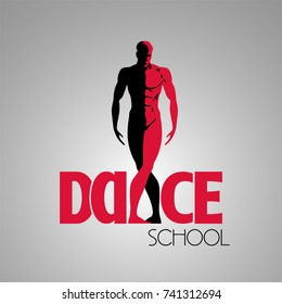 Dance classes vector logo, symbol. Silhouette of fit man as a template for dancing school
