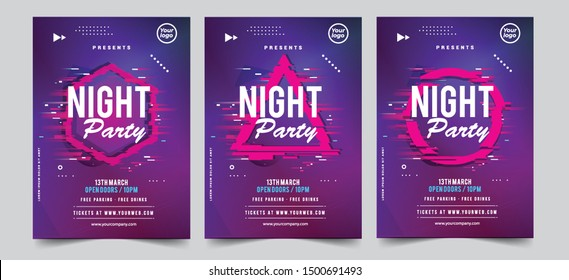 Dance Club Night Party Flyer Brochure Layout Template. Club Party Banner design. Vector illustration - Vector