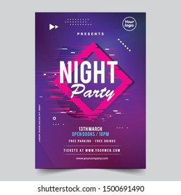 Dance Club Night Summer Party Flyer Brochure Layout Template. Club Party Banner design. Vector illustration - Vector
