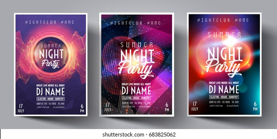 Dance Club Night Summer Party Flyer Brochure Layout Template. Club Party Banner design. Vector illustration