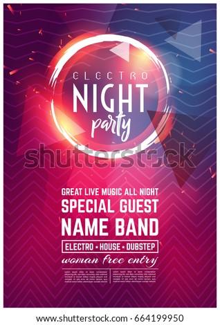 dance club night summer party flyer のベクター画像素材