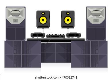 Dance club sound system vector set - studio audio monitors, dj equipment and modern concert loudspeakers.