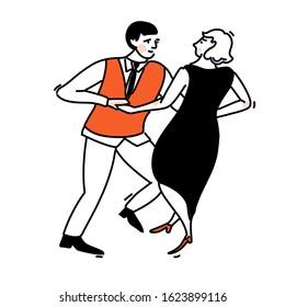Dance couple. Woman in elegant black dress and men in red vest. Swing illustration, social dancing vector outline art