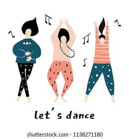 Let's dance. Dancing girls vector illustration. Dance party. Happy people characters Set of colorful characters vector Illustrations
