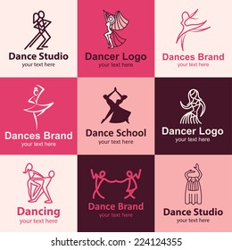 Dance flat icons set logo ideas for brand